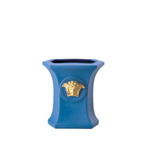 Jarrón azul Gorgona Pop 18 de porcelana de Rosenthal Versace