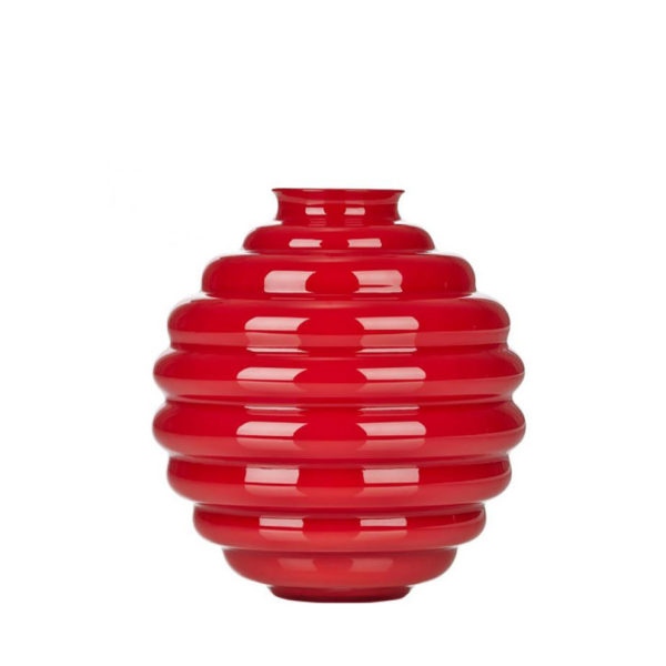 Florero Opal de cristal rojo de Murano de Venini