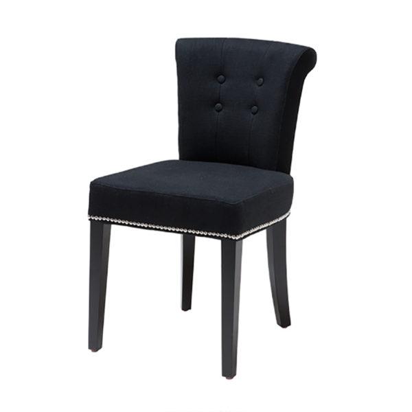 Silla tapizada en negro con tirador trasero san pal for Sillas negras comedor