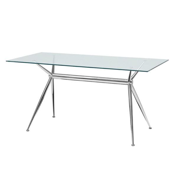 Mesa de comedor con patas de aluminio y cristal - San-Pal