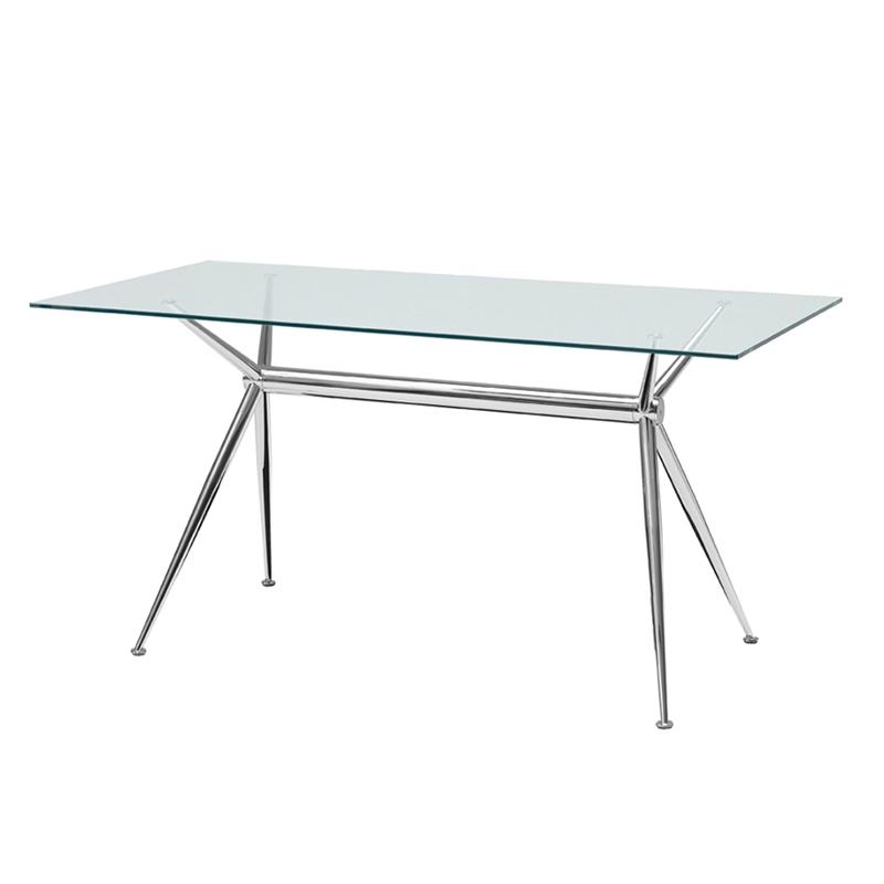 Mesa de comedor con patas de aluminio y cristal san pal for Mesa comedor disea o