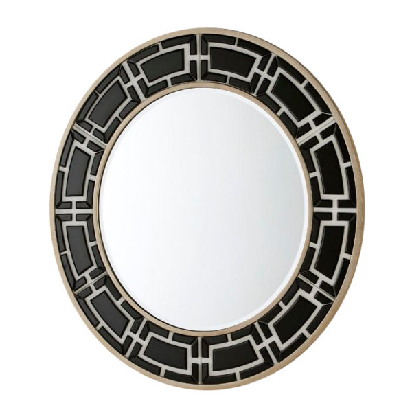 Espejo redondo con greca de cristal negro