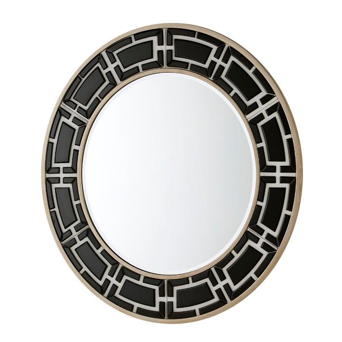 Espejo redondo con greca de cristal negro san pal for Espejo redondo negro