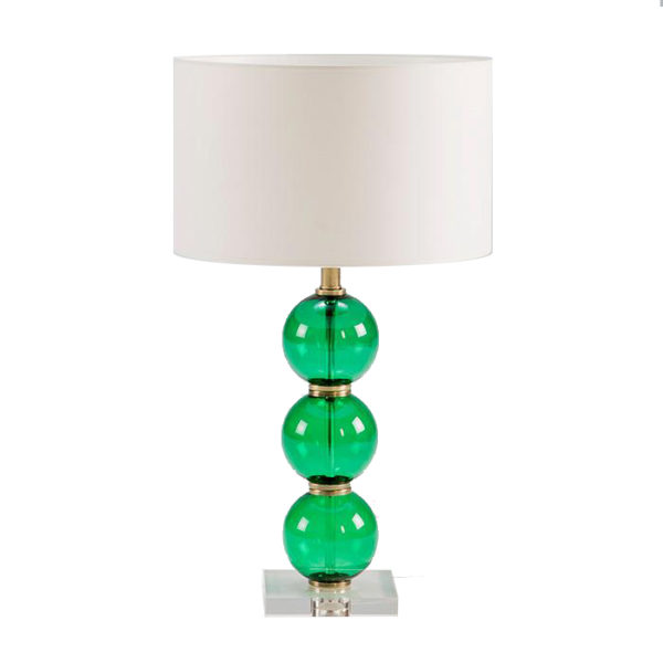 Lámpara con base de bolas de cristal verde