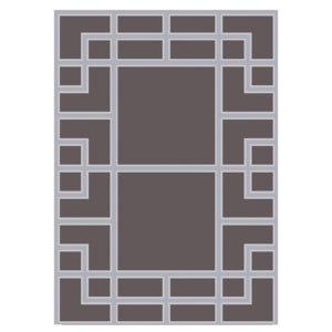 Alfombra de lana con dibujos geométricos grises