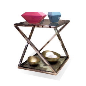 Mesa auxiliar cuadrada de acero y cristal