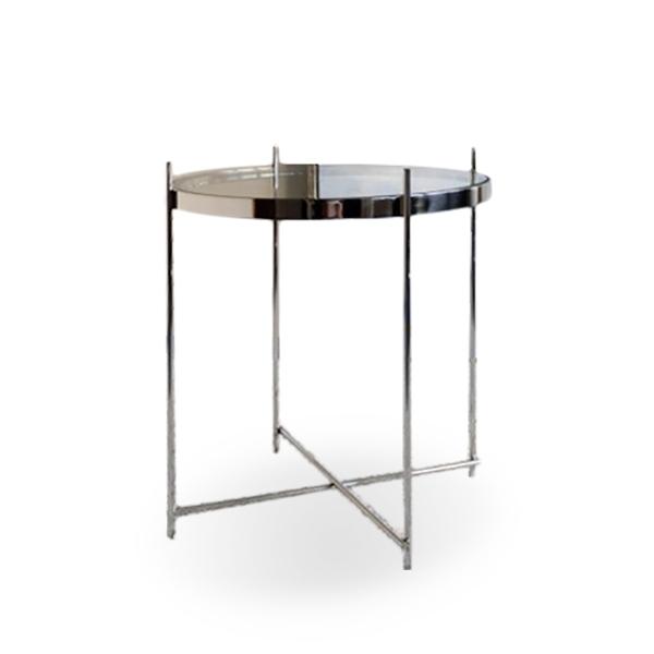 Mesa auxiliar redonda de acero con cristal san pal - Mesa auxiliar redonda ...