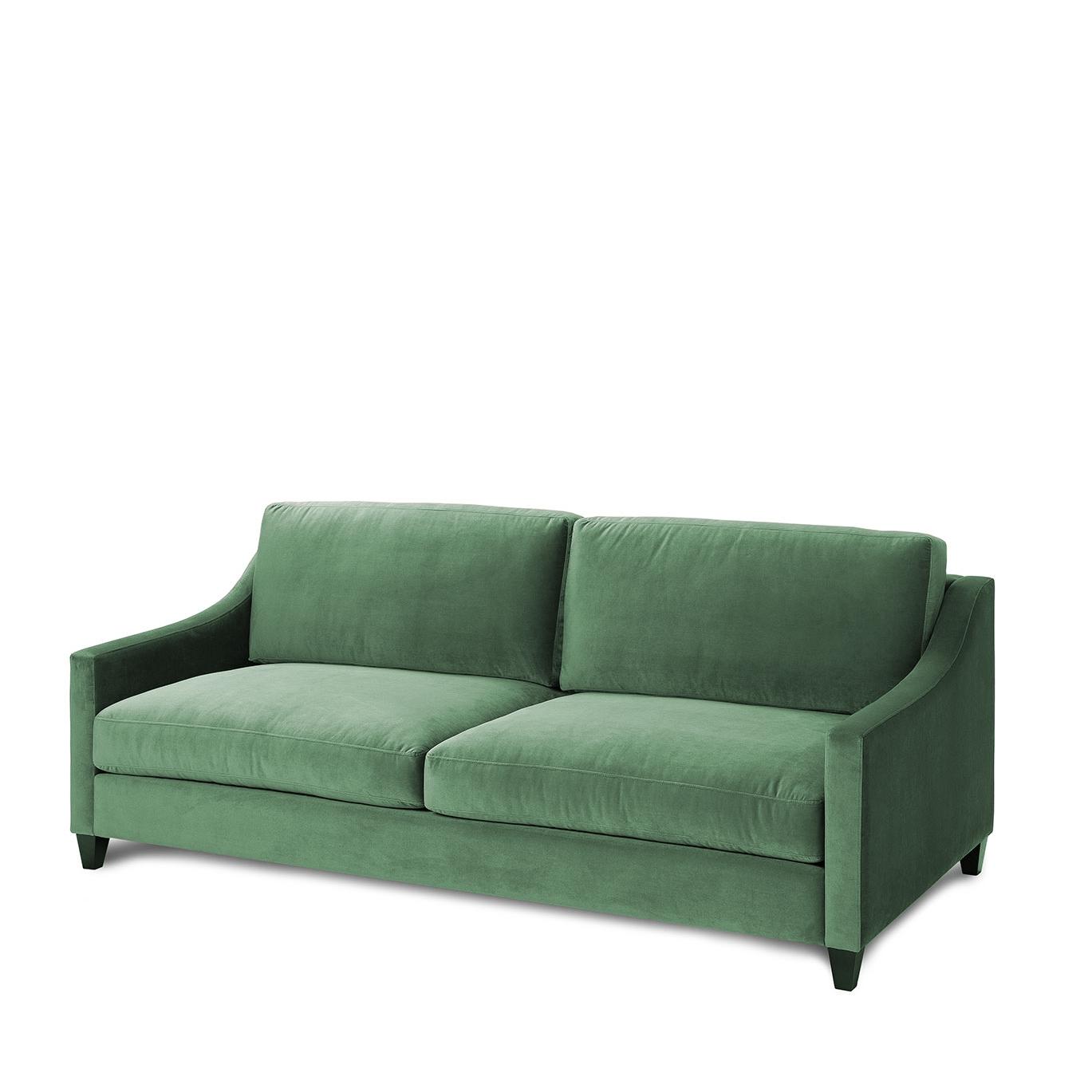 sof de terciopelo verde con patas al tono san pal