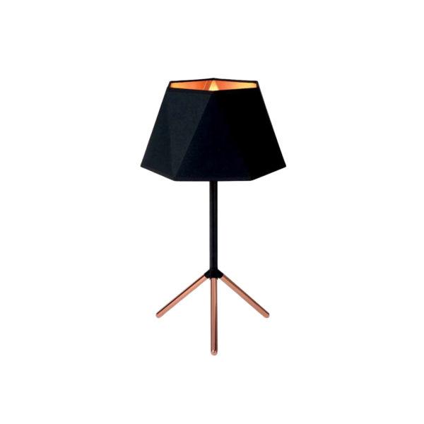 Lámpara de sobremesa con pantalla poligonal negro y cobre