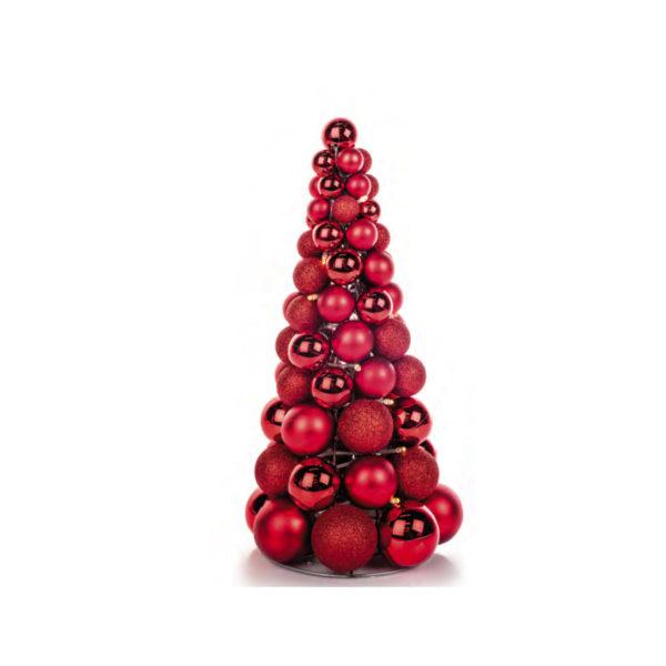 Adorno navideño de bolas rojas con forma de cono y luz