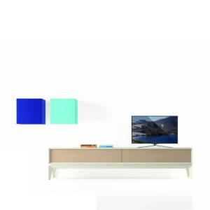 Mueble de televisión con base combinada y cajas voladas de colores