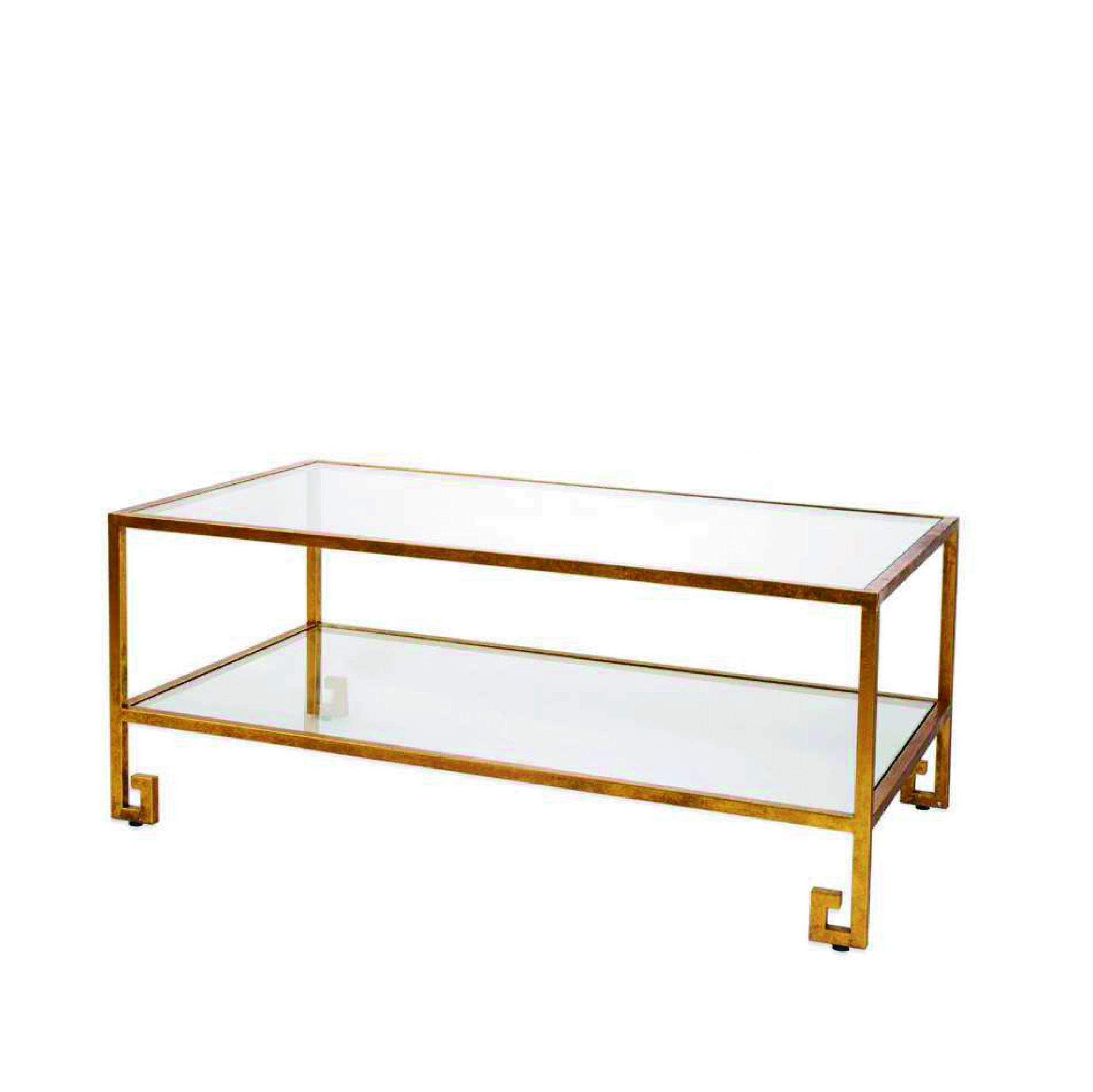 Mesa de centro dorada con dos baldas de cristal san pal - Baldas de cristal ...