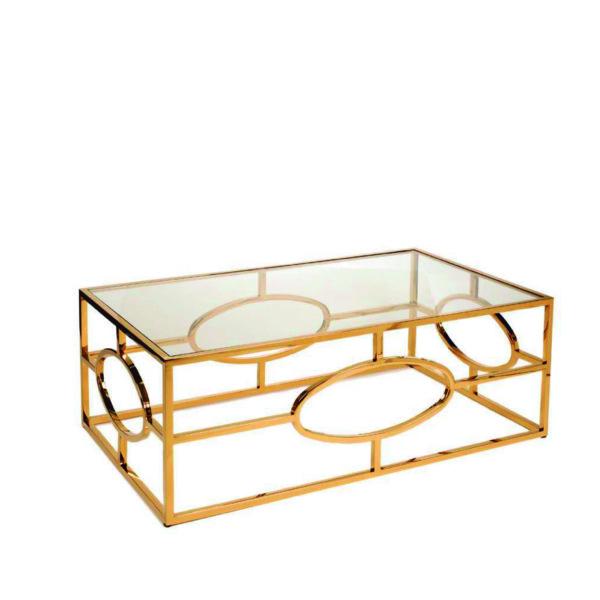 Mesa de centro rectangular con base dorada y cristal san pal for Cristal para mesa rectangular