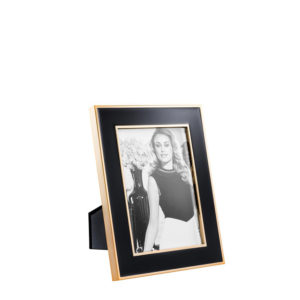 Portafotos en acabado oro rosa y negro mediano