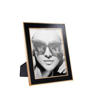 Portafotos en acabado oro rosa y negro grande