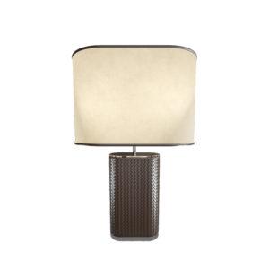 Lámpara con base ovalada marrón de piel trenzada