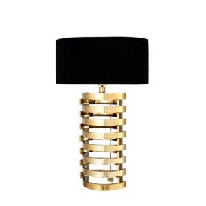 Lámpara de sobremesa Boxter L de Eichholtz dorada con base entrelazada y pantalla ovalada negra