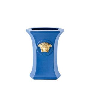 Jarrón azul Gorgona Pop 23 de porcelana de Rosenthal Versace
