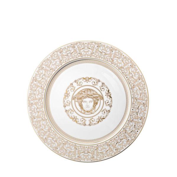 Plato de presentación Medusa Gala blanco y dorado de Rosenthal Versace