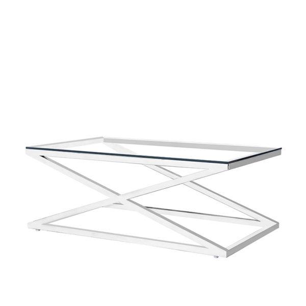 Mesa de centro con aspas de acero y cristal
