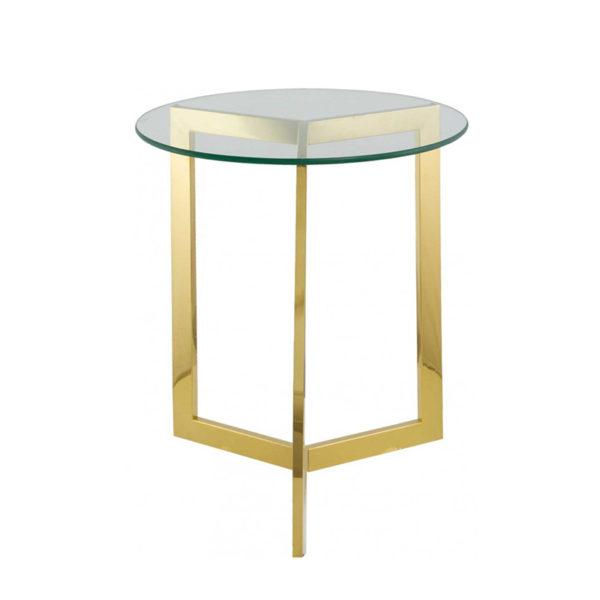 Mesa auxiliar redonda de cristal y acero dorado de 50