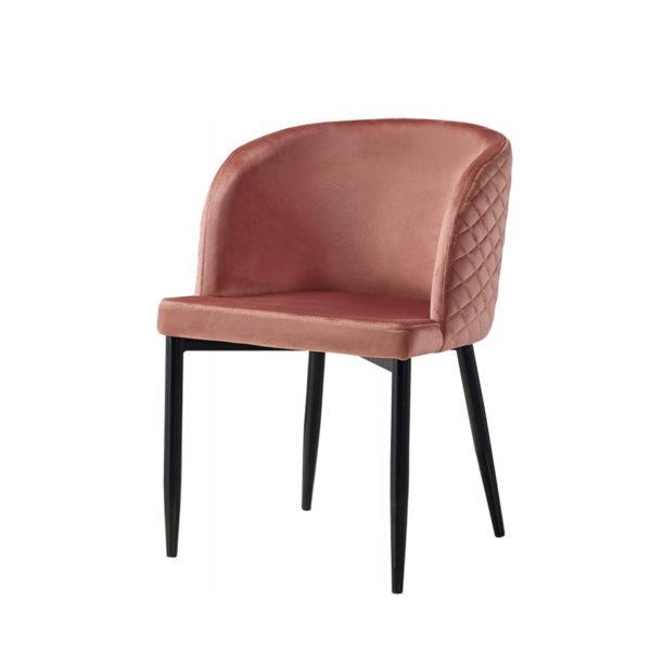 Silla con acolchado trasero de terciopelo rosa