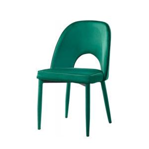 Silla con agujero en el respaldo de terciopelo verde