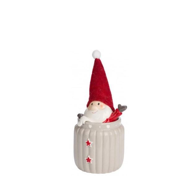 Bote de cerámica beige pequeño con Papá Noel