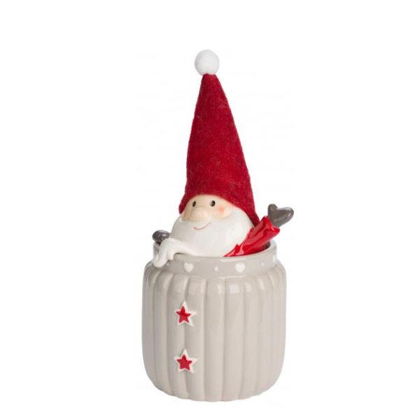 Bote de cerámica beige grande con Papá Noel