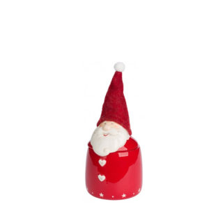 Bote de cerámica rojo pequeño con Papá Noel