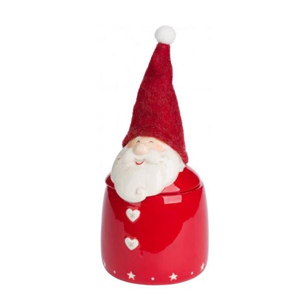 Bote de cerámica rojo grande con Papá Noel