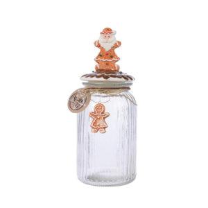 Bote hermético de cristal con muñeco de jengibre