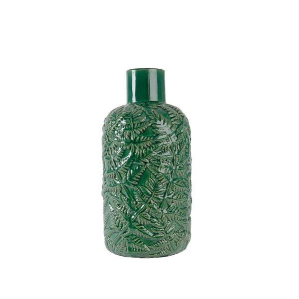 Jarrón de cerámica verde