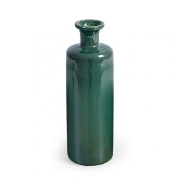 Jarrón de cerámica esmaltada verde botella
