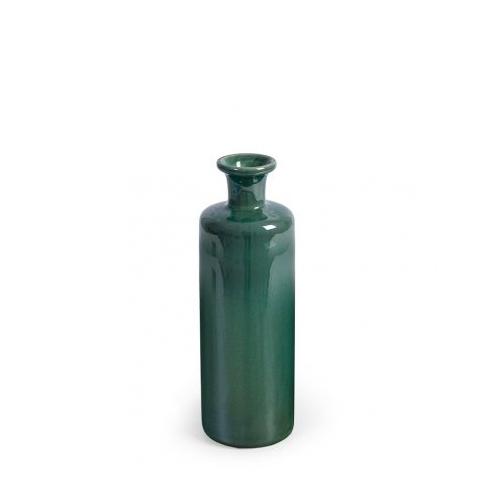 Jarrón de cerámica esmaltada verde botella bajo