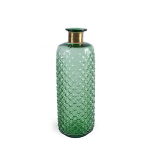 Botella verde estriada con cuello dorado