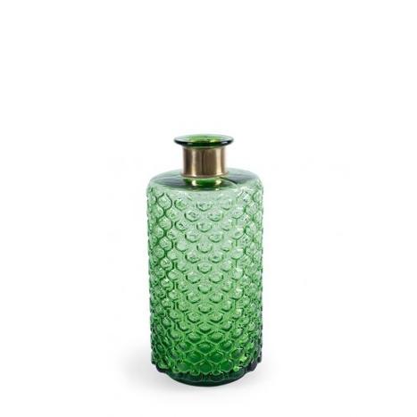 Botella verde estriada baja con cuello dorado