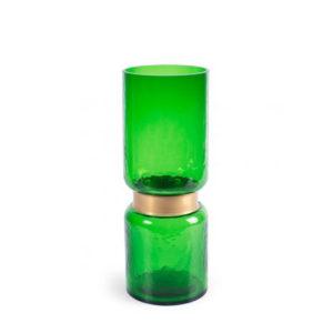 Jarrón verde con detalle dorado alto