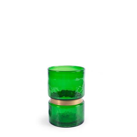 Jarrón verde con detalle dorado mediano
