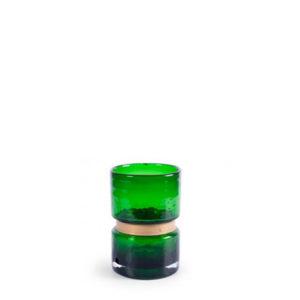 Jarrón verde con detalle dorado bajo