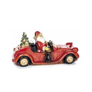 Papá Noel en coche de cerámica con luz