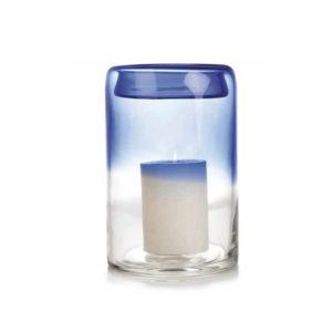 Jarrón de cristal degradado en azul grande