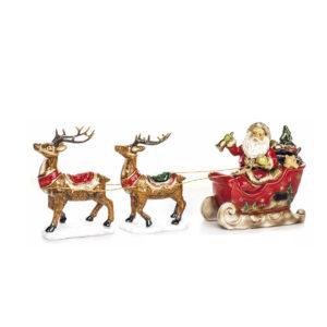 Papá Noel en trineo de cerámica con luz