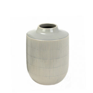 Florero de cerámica gris grande
