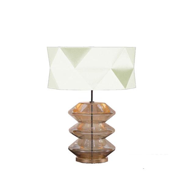 Lámpara de cristal ámbar con pantalla poligonal