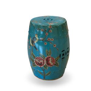 Taburete de cerámica azulona con flores y pájaros