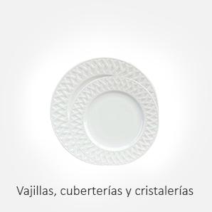 Vajillas de porcelana, cuberterías, cristalerías