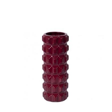 Jarrón de cerámica granate bajo