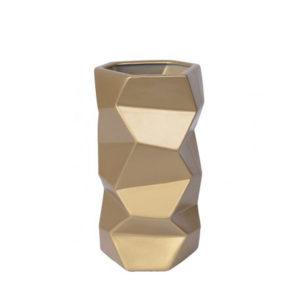 Jarrón poligonal de cerámica dorado