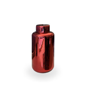 Jarrón con tapa de cristal rojo brillante